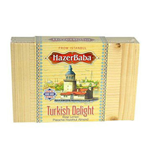 HAZERBABA Assorted Turkish Delight in Wooden Box 227g resmi