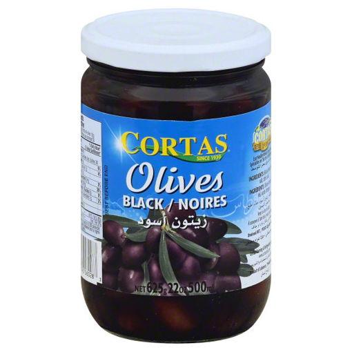 CORTAS Black Olives in Brine 625g resmi