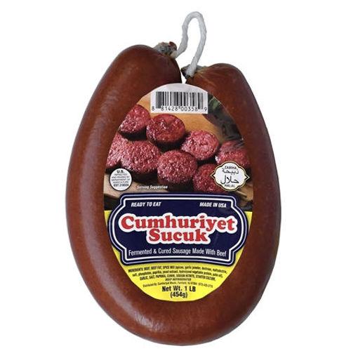 CUMHURIYET Dried Beef Sausage (Sucuk) 1lb resmi