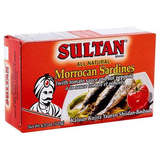 SULTAN Moroccan Sardines with Tomato Sauce and Hot Peppers 125g resmi