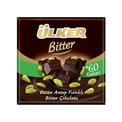 ULKER Golden Bitter Chocolate Bar w/Pistachio 80g resmi