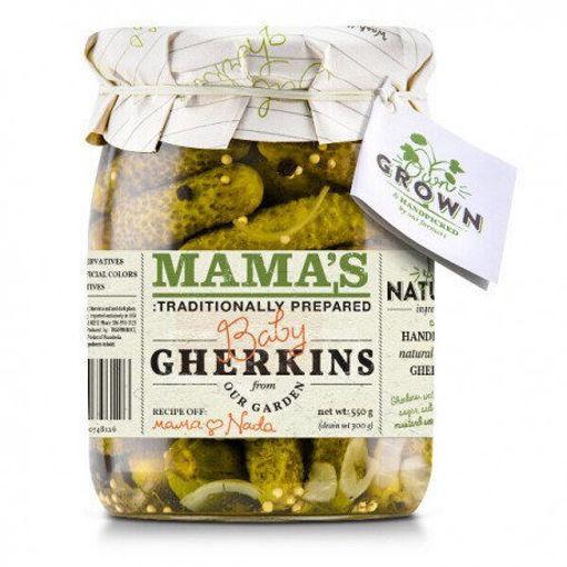 MAMA'S Kosher Dill Baby Gherkins 283g resmi