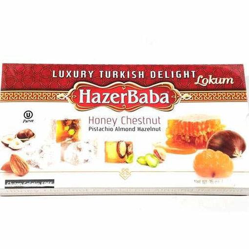 HAZERBABA Honey&Chestnut (Pistachio-Almond-Hazelnut) Turkish Delight 454g resmi