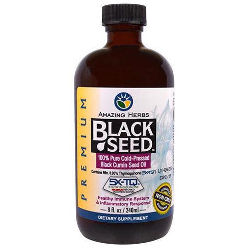 AMAZING HERBS BLACK SEED %100 Pure Cold Pressed Black Cumin Oil 240 ml resmi