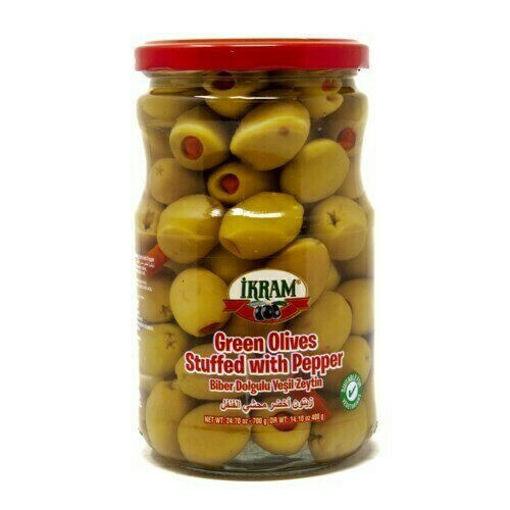 IKRAM Pepper Stuffed Green Olives (Dolgulu Yesil Zeytin) 700g resmi