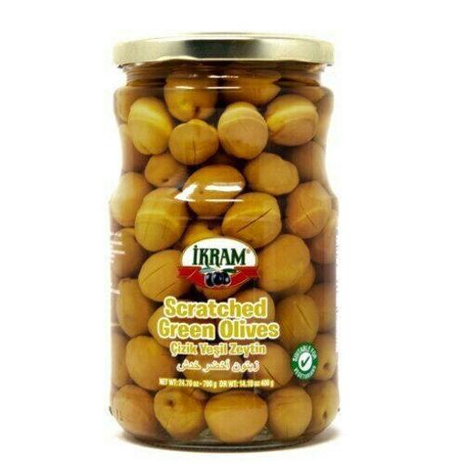 IKRAM Scratched Green Olives (Cizik Yesil Zeytin) 720g resmi
