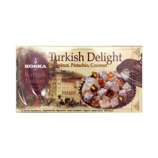 KOSKA Mixed Turkish Delight Hazelnut-Pistachio-Coconut 500g resmi