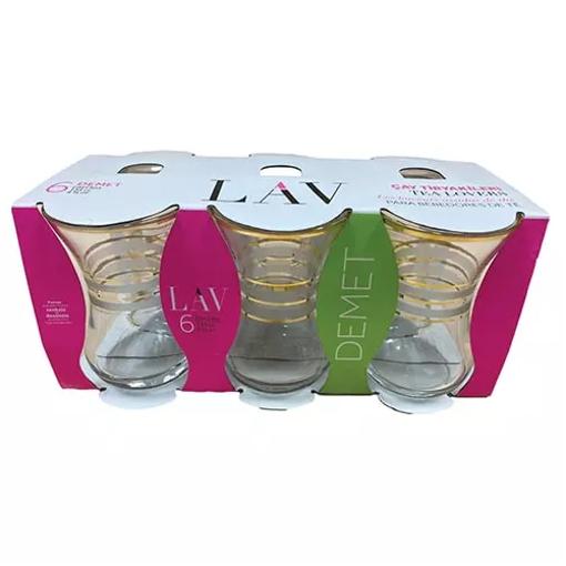 LAV Demet Zebra Yaldız Tea Glass 6pc resmi