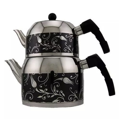 MIMAR SINAN ''Sehrazat'' Stainless Steel Tea Pot Set - Color: Black resmi