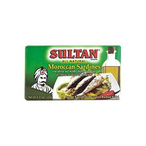 SULTAN Moroccan Sardines in Olive Oil with Chili Peppers 125g resmi