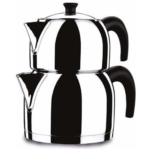 KORKMAZ Tea Pot Stainless Steel (Caydanlik) Maxi Size resmi