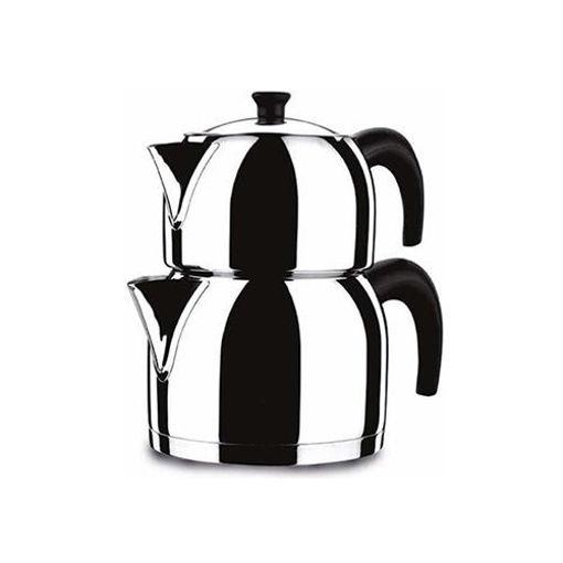 KORKMAZ Tea Pot Stainless Steel (Caydanlik) Midi Size resmi