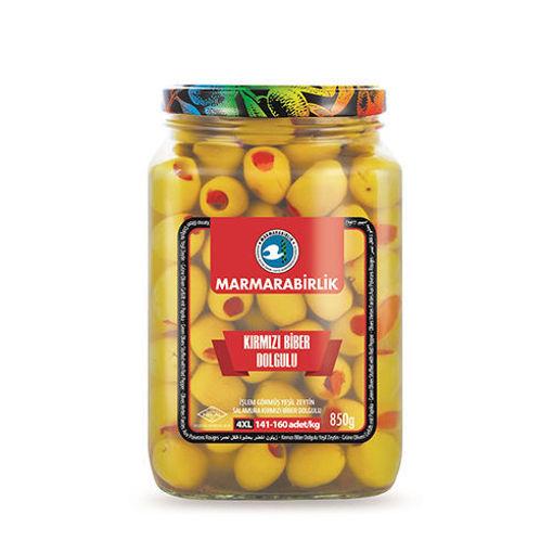 MARMARABIRLIK Green Olives w/Red Peppers 4XL 850g resmi