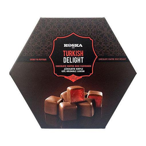 KOSKA Chocolate Covered Turkish Delight w/Rose 140g resmi