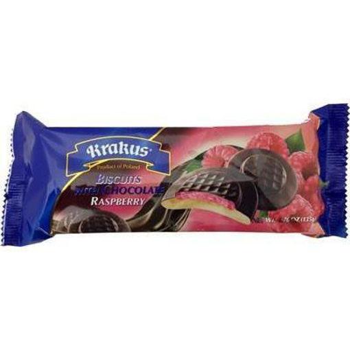 KRAKUS Biscuits w/Chocolate (Raspberry) 135g resmi