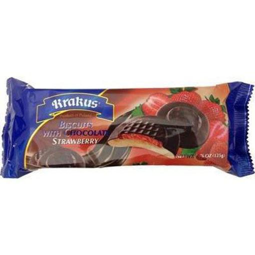 KRAKUS Biscuits w/Chocolate (Strawberry) 135g resmi